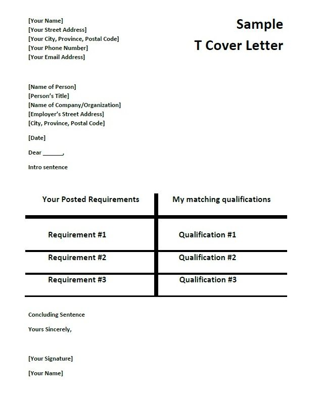 T Chart Cover Letter Template 2-Cover Letter Template Cover