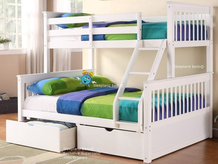 White Triple Bunk Bed With Drawers
