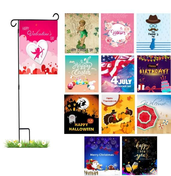Yardekor Garden Flags With Stand 12 Seasonal Garden Flag Set For
