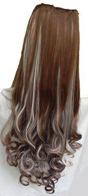 55 cm de comprimento loiro escuro com mechas claras, lindo aplique