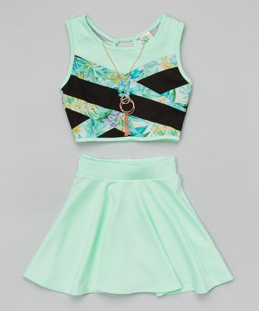http://www.zulily.com/invite/kripley070 Mint Floral Color Block Crop Top Set - Girls by Just Kids #zulily #zulilyfinds