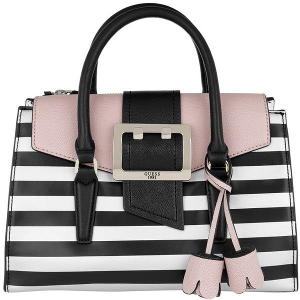 Guess Shoulder Bag - Tori Flap Satchel Bag Black Stripe - in rose,... ($185) ❤ liked on Polyvore featuring bags, handbags, shoulder bags, white handbag, silver shoulder bag, shoulder strap purses, white shoulder bag and guess handbags