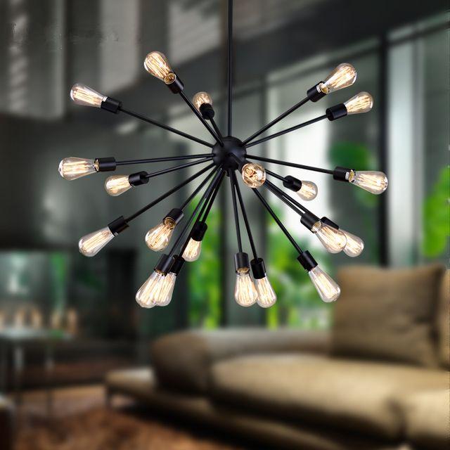 Estilo Industrial sputnik colgante creativo de hierro negro e27 lámpara led lampara hanglampen lustres lampen pendientes deco lampe