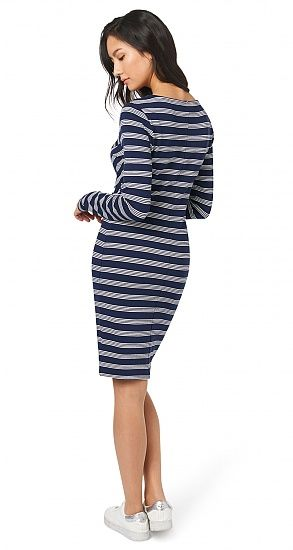 gestreiftes Kleid für Frauen (gestreift, langärmlig mit Rundhalsausschnitt) - TOM TAILOR