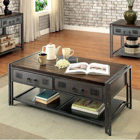 Thurles Industrial Style Coffee Table, Black