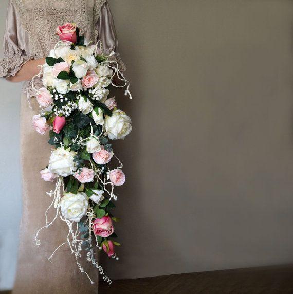 Cascading bouquet artificial flowers by WeddingDesignForYou