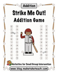 "Baseball Addition Freebie- ""Fun game to teach addition facts to 12. Each player has 11 baseballs with the numbers 2-12. Players take turns rolling dice and adding the numbers. Baseballs with the correct answer are removed. The first player to remove all the baseballs wins the game. This game can also be adapted for subtraction. Great math center activity!"""