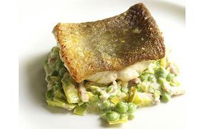 Mark Hix recipe: Ling with creamed peas, leeks and bacon - Telegraph