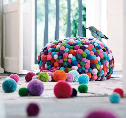Colorful And Cozy Pompom Chairs And Rugs DigsDigs