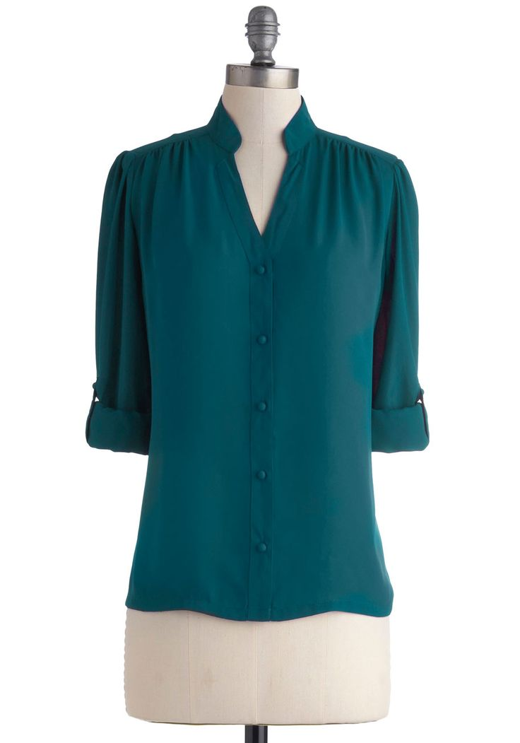 The Grand Tour Guide Top in Teal | Mod Retro Vintage Short Sleeve Shirts | ModCloth.com --- lovely cut, but blah to polyester.