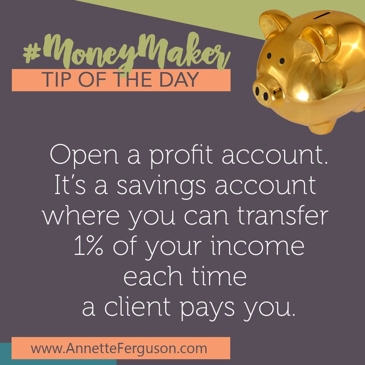Make sure you are profitable from DAY 1 and make it a habit! You set up a separate bank account from your main business bank account (starting up and don't have a separate business bank account - you REALLY NEED TO). This second bank account you can set up as a savings account...and this will be called your PROFIT account. Then when your clients/customers pay you...transfer 1% of that money into your profit bank account. #moneycoach #profitfirst #financialmastery