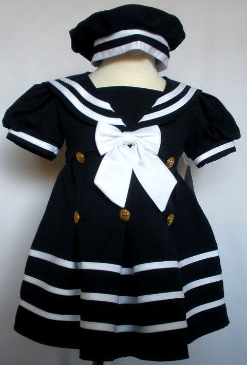 Infant Toddler Girl Navy White SAILOR Dress Formal Wedding Party Outfit sz S-4T
