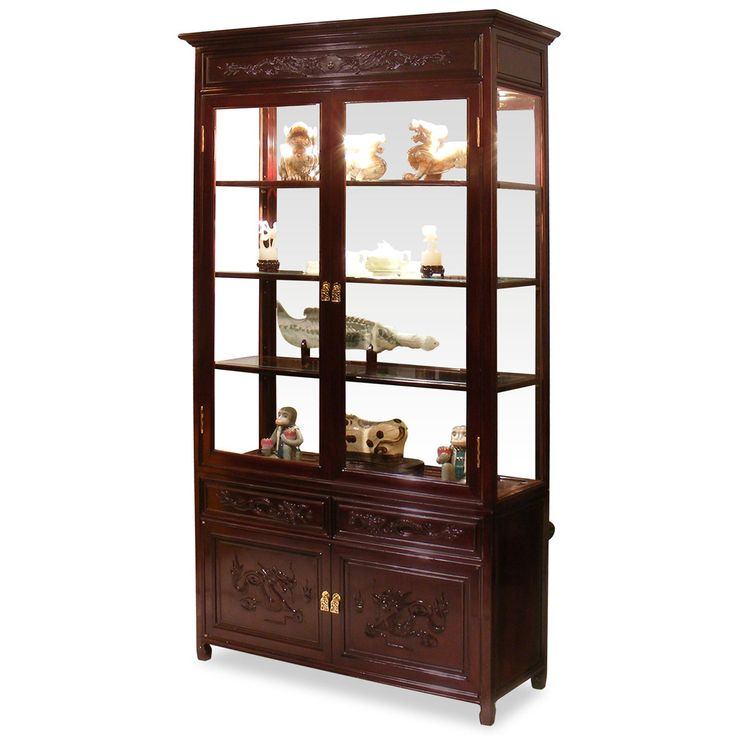 Deluxe Door Designs By Amersham S Iq Furniture: 40in Rosewood Dragon Motif China Cabinet