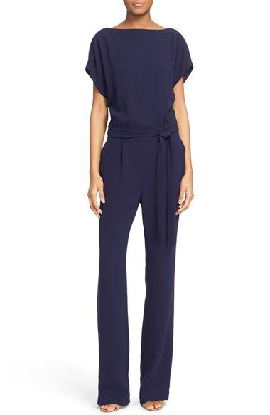 Diane von Furstenberg Dolman Sleeve Crepe Blouson Jumpsuit