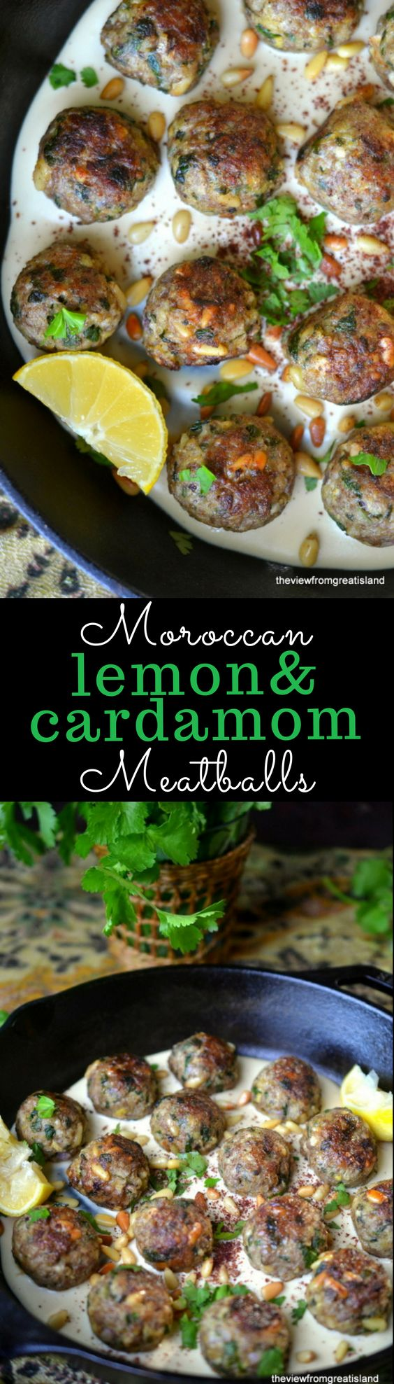 Moroccan Lemon and Cardamom Meatballs ~ I can't imagine a more exciting dinner than a plate of these lemony cardamom spiced lamb meatballs nestled in creamy tahini sauce.  I have a feeling this is going to become your new favorite meal!