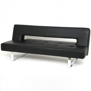 Orion sofa sleeper   black imitation leather 499 mobler ...