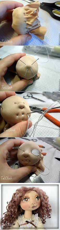 Создание объемной текстильной кукольной головки. Часть 3