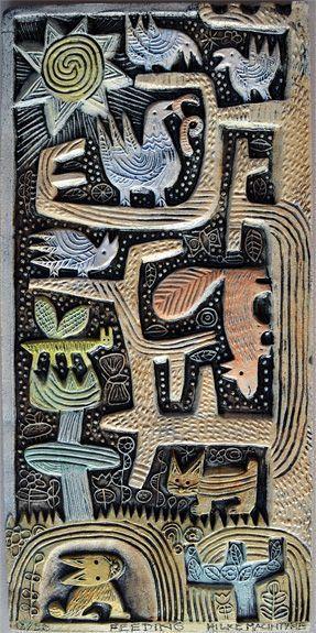 A ceramic relief by Hilke MacIntyre