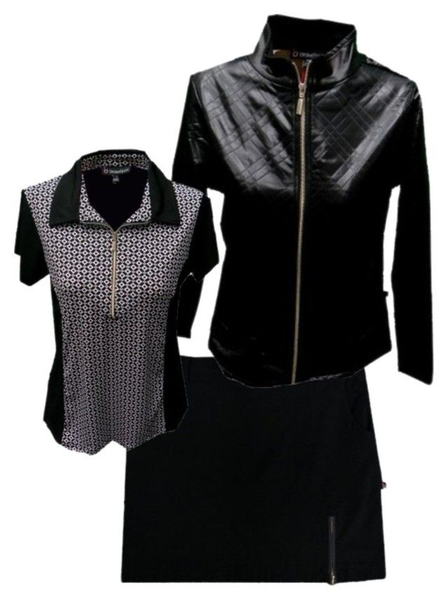 Golf Jacket, Golf Outfit for Womens Black,Apres Golf Outfit by theladiesproshop on Polyvore