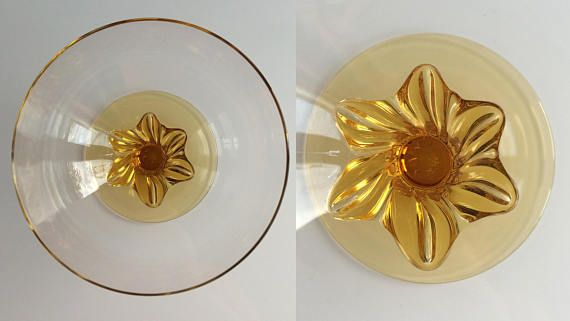 x5 vintage glass dessert fruit bowls / amber stem & clear