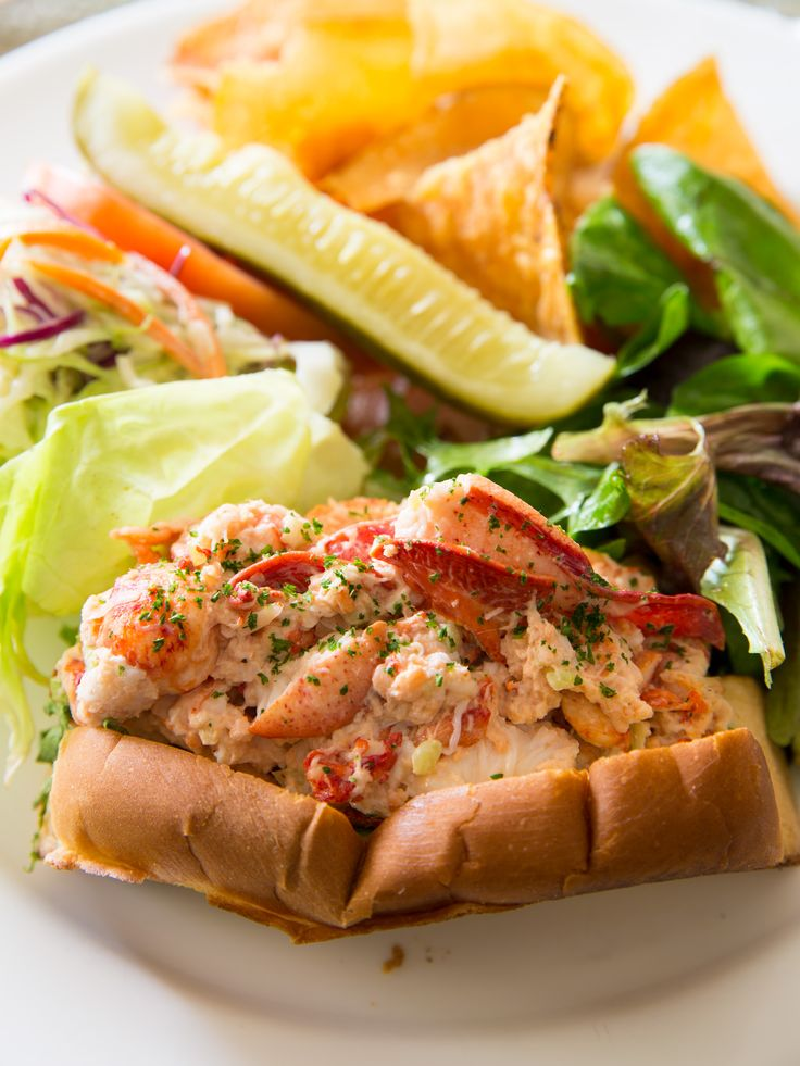The Main Line #LobsterRoll with sweet Maine Lobster, celery, onion, and special house sauce on a toasted bun