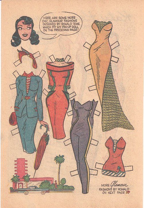 Glamour Katy Keene paper doll pg 2* 1500 free paper dolls The International Paper Doll Society Twitter #QuanYin5 Arielle Gabriel artist *