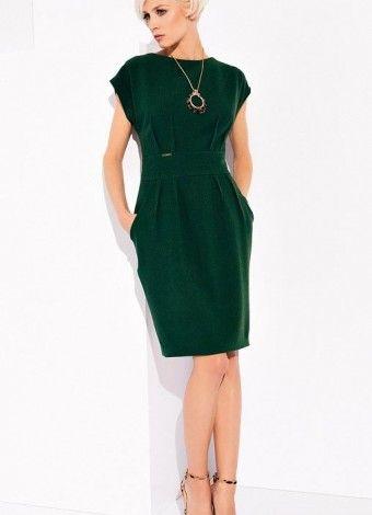 Зеленое офисное платье осень-зима