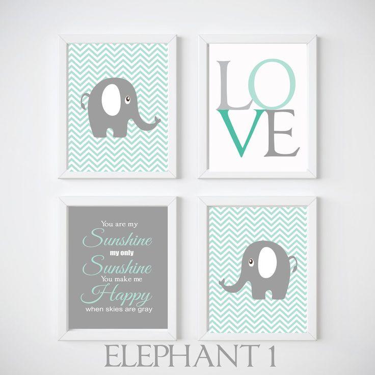 Elephant Nursery Room Wall Decor, Print your own decor