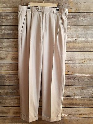 IZOD Golf - Mens Cuffed Pleated Beige Pants - NEW - Size 32 x 30