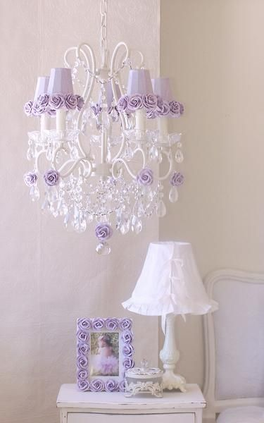 5 Light Antique White Chandelier With Lavender Rose Shades