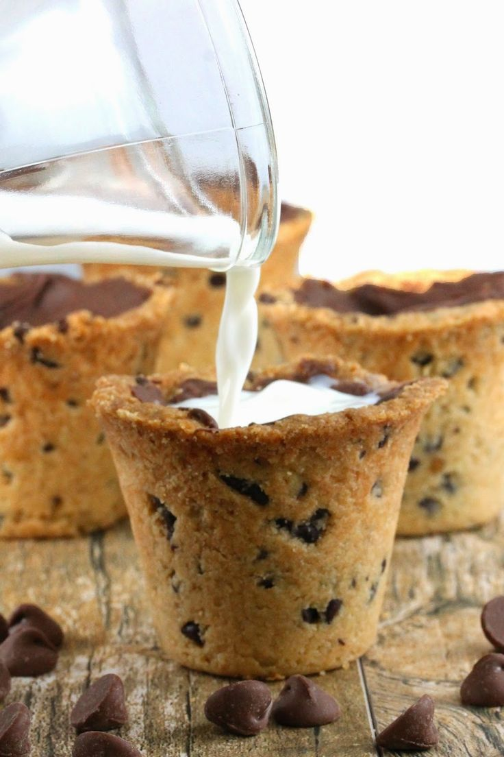 Chocolate Chip Cookie Shots from The Stay At Home Chef. Chocolate chip cookie shot glasses that you can fill with milk or another tasty beverage! Have your cookies in milk in one fun shot!