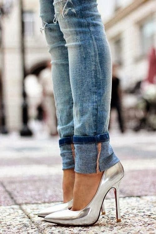 Silver High Heels With Jeans