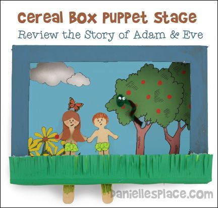 Story of Creation Cereal Box Puppet Stage - Use this craft to review the story of Adam and Eve in the Garden of Eden - Find out how to make this puppet stage, puppets, and snake on www.daniellesplace.com