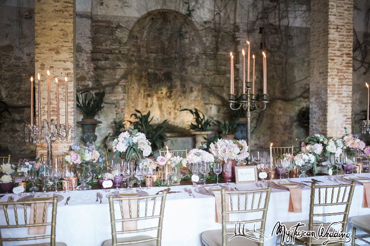 Rose gold table runner with bronze candelabras- blush pink shading to whites and a few serenity blues