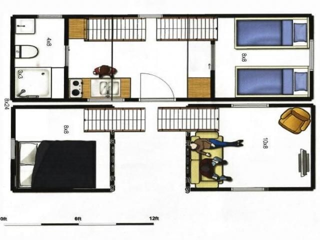 8x24 tiny house plans | 8x24 portable tiny house on trailer. Total of 336 sq ft of floor space ...