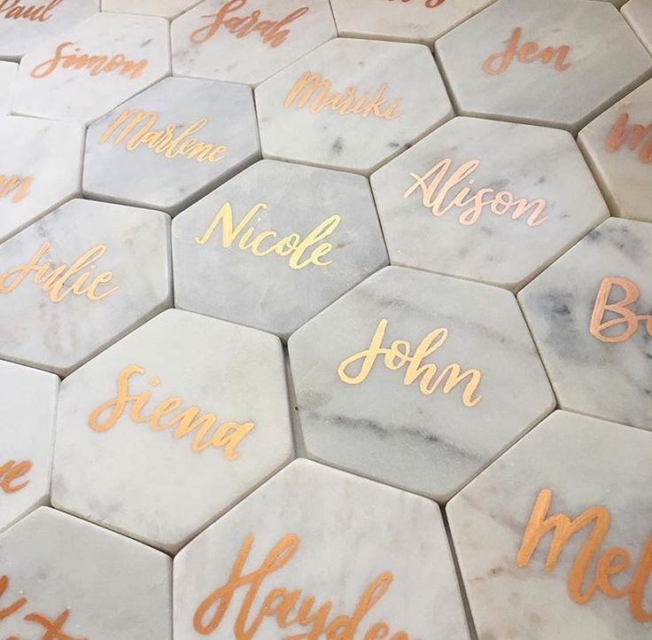 Personalized marble coasters as wedding favors