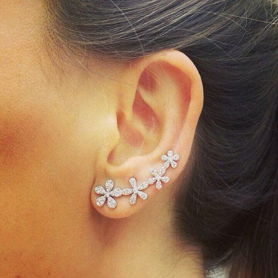 Flower Ear Cuff Ear Cuffs Sterling silver Two by MinimalistDesigns