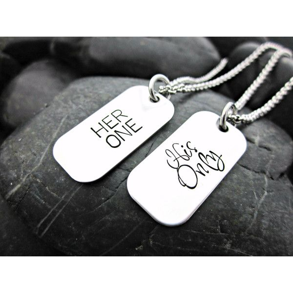 Her One His Only Couple's MINI Dog Tag Necklaces (87 BRL) ❤ liked on Polyvore featuring jewelry, necklaces, chains jewelry, dog tag chain necklace, mini necklace, chain necklaces and dog tag jewelry