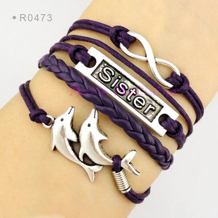 Sister to Infinity and Beyond Double Dolphin Charm Bracelet Purple Waxed Cotton Cord Leather Braid Bracelet - Customizable