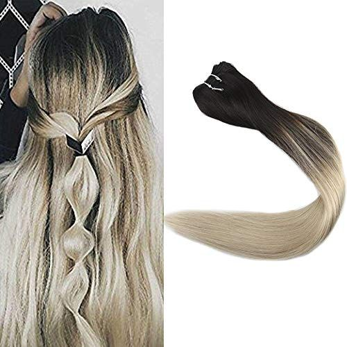 Amazing offer on Full Shine 22 inch Remy Brazilian Hair Bundles Balayage Hair Weft Mixed Color 1B Fading 613 Hair Weft Remy Hair 100g/package online