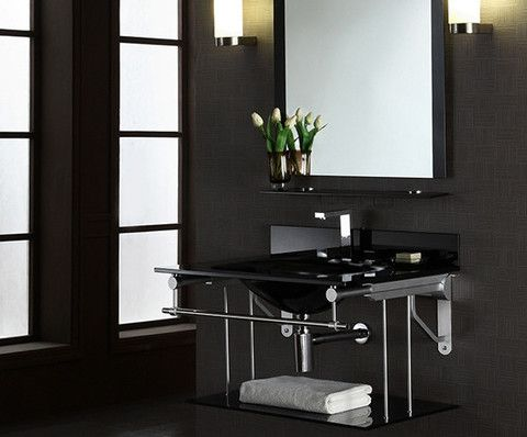 Gallery One Amazing Xylem Wall Mounted Black Glass Bathroom Vanity Metal C Console perfect for those seeking a minimalist look in their bath