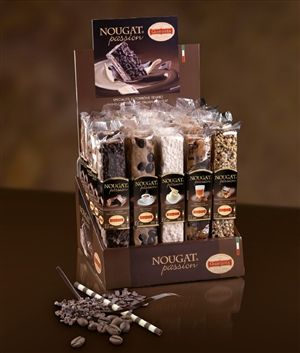 Nougat Passion - Each package contains 5 flavors,Chocolate, Coffee, Mascarpone, Raisins and Rum, and Gianduja. Soft nougat sticks generously sprinkling with taste. A breath-taking dessert.