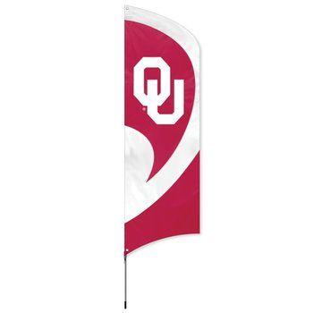 Oklahoma Sooners Tall Team Feather Flag With Flagpole