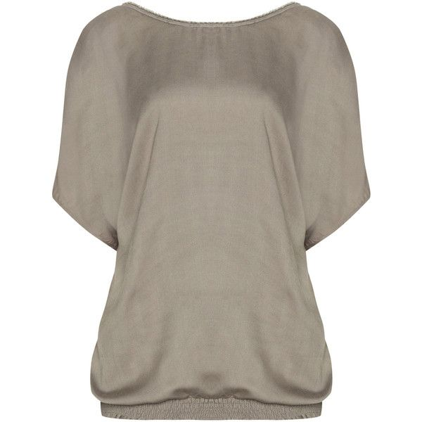 Zizzi Taupe-Grey Plus Size Beaded neckline smocked hem top (1.450 CZK) ❤ liked on Polyvore featuring tops, plus size, plus size 3/4 sleeve tops, plus size v neck tops, plus size tops, grey top and womens plus tops