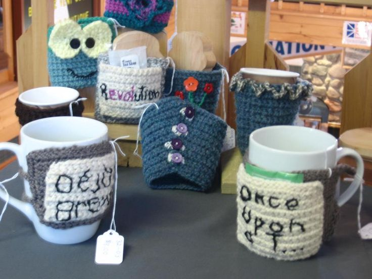 Teacup cozy's available at East Wind Boutique (Dalhousie NB, Canada)
