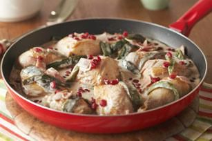 Creamy Chicken with Roasted Poblanos - Creamy chicken and roasted poblano chiles star in this easy skillet dish. But to be perfectly honest, the pomegranate seeds kind of steal the show.