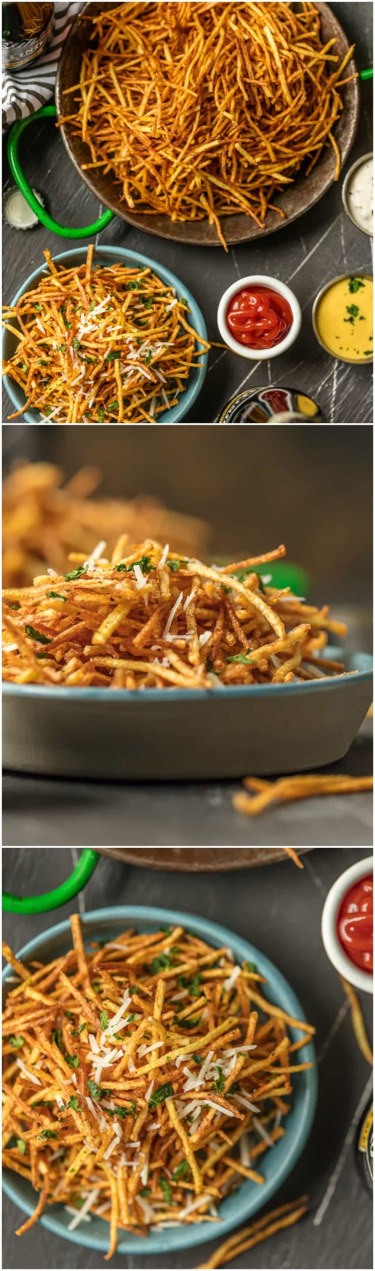 These Skinny Shoestring Fries are the perfect side for sandwiches to bbq to so much more! We love these fun potato fries that are super thin and deep fried. So delicious and fun. via @beckygallhardin