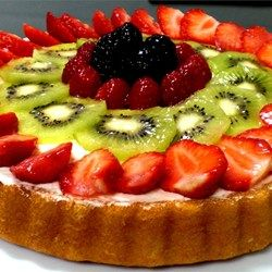 fresh fruit tart - using no-bake cheesecake filling and a simple cornstarch and orange juice glaze; make with graham cracker crust