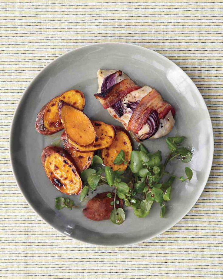 Broiled Bacon-Wrapped Chicken with Sweet Potatoes and Watercress Recipe
