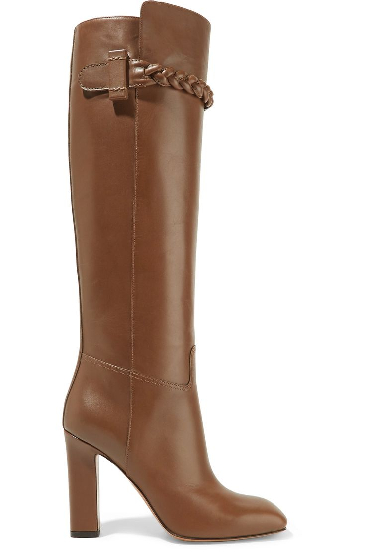 Shop on-sale Valentino Braid-trimmed leather knee boots. Browse other discount designer Boots & more on The Most Fashionable Fashion Outlet, THE OUTNET.COM